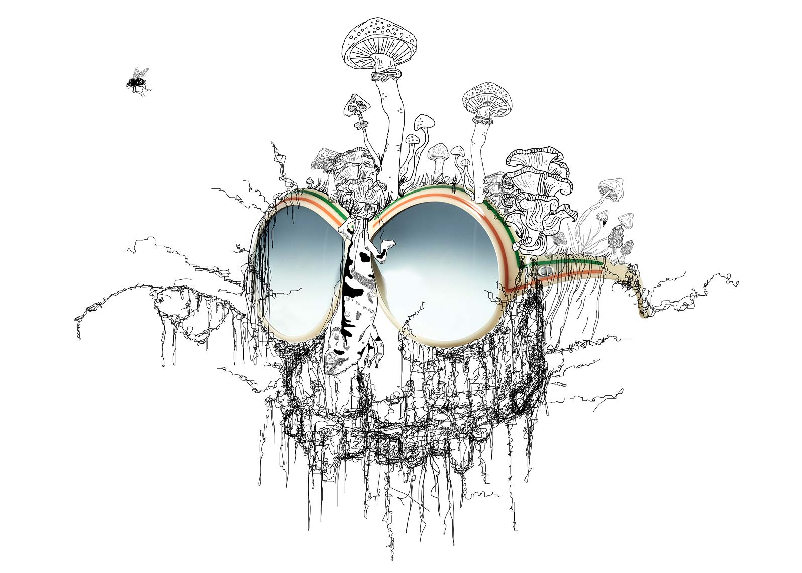 Jeff Stephens | Laura Hall illustration with vintage Gucci Sunglasses